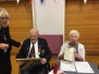 D day veteran Ron Cornhill receives his Légion d'honneur courtesy of the French Government from Parish Council Chair Lyn Harley at the Parish Council annual parish meeting April 2016.
